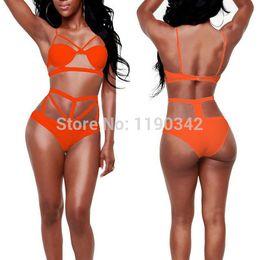 Wholesale Bikini Top Pads - Wholesale-New Leotard Strappy High Waist Bikini Women Swimwear 2015 Sexy Tops Padded Push Up Bathing Suit Bodycon Bandage Swimsuit Biquini