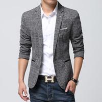 Wholesale Flax Color - Wholesale-British's Style New Brand Blazer Men Linen Casual Suit Mens Blazers Slim Fit Regular Single Breasted Men Flax Suit Jacket 4XL