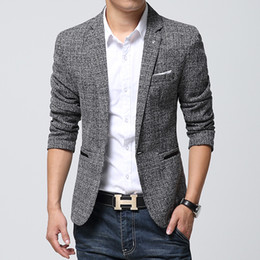 Wholesale Fitted Blazers - Wholesale-British's Style New Brand Blazer Men Linen Casual Suit Mens Blazers Slim Fit Regular Single Breasted Men Flax Suit Jacket 4XL