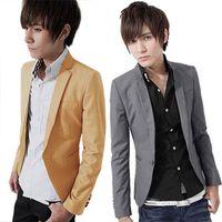 one button fitted blazer toptan satış-Toptan-Erkek Kore Çarpıcı Slim fit Ceket Blazer Giyim bir Düğme Ceket Suits Tops Freeshipping