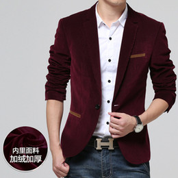 Wholesale Terno Noivo Fit - Wholesale-2015 Mens Blazers Corduroy Jacket Inside Velvet Tuxedos Slim Fit Party Blazer Masculino Terno Noivo 5XL Dress Wedding Suits Y418