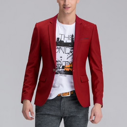 Wholesale Modern Jacket Men - Wholesale-Fashion men's suit Unstructured man's jacket Modern red single-breasted SLIM FIT virgin blazer Men Sportcoat