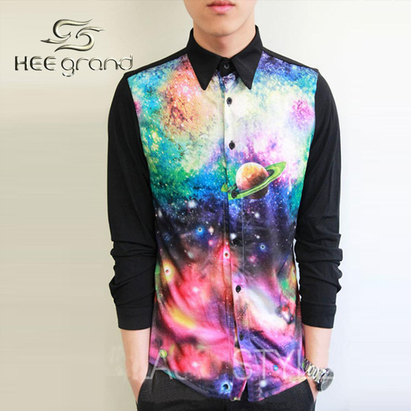 Wholesale- New Arrival 3D Printing Galaxy Shirts Male Casual Special Design Splicing Turn-down Collar Long-sleeved Shirt