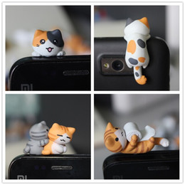 Wholesale Cat Anti Dust Plug - Wholesale-wholesale kpop kawaii original quality Chi's cat Anti dust plug 20 style for cell phone ks cute anime ear jack earphone cap