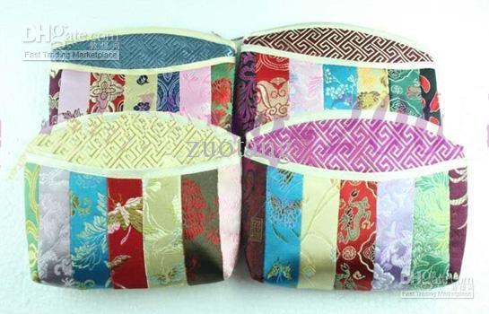 Kleurrijke Patchwork Kleine Rits Cosmetische Tas Vintage Vrouwen China Luxe Zijde Brocade Tassel Makeup Case Opslag Pouch