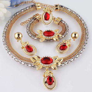 Wholesale New k Gold Filled Clear Austrian Crystal Garnet Double Chain Necklace Bracelet Earring Ring Jewelry Set