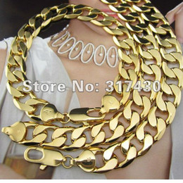 "Wholesale Heavy Yellow Gold Bracelet - Wholesale-Heavy 24k Yellow gold filled Men's necklace Bracelet Sets 136g Curb chain 12mm Width 24"" Fashion Jewelry gold chain"