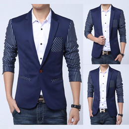 Veste Décontractée En Mode Uk Pas Cher-Gros-Uni Style Stripe Hommes Blazer 2015 Nouvelle Collection Classique Fashion Marque One Button Suit Casual Blazer Vestes F0265