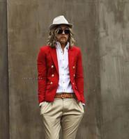 blaser giysileri toptan satış-Toptan-Moda rahat blazer kadife erkek giyim takım elbise moda ince kırmızı erkek civies erkek blazer blaser ceketler