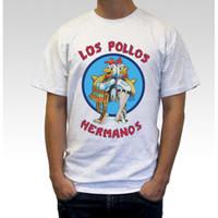 рубашка los pollos hermanos оптовых-Оптовая продажа-Los Pollos Hermanos печати футболка для мужчин Женщины хлопок Breaking Bad повседневная белая рубашка топ Tee S-XXXL большой размер