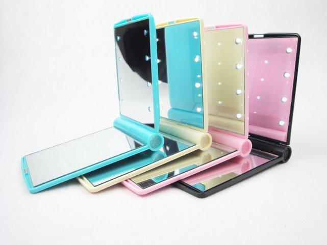 pocket make up mirror with 8 led lighting led mirror for cosmetic