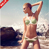 Wholesale Women Bar Push Up - Wholesale-2015 Fashion New Swimsuit bandage women swimwear beach push up bar bikini sets Free shipping best price