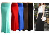 Wholesale Long Red Cotton Skirts - Wholesale- New Autumn and Winter Solid Color Fishtail Maxi Long Skit Cotton Slim Maxi Long Length High Waist Full Bandage Bust Skirts