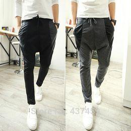 Wholesale Korean Dance Trousers - Wholesale-Free Shipping Men's Korean Fashion Pocket Pu Leather Splice Sweatpants Harem Baggy Jogging Dance Casual Sport Trousers Slacks
