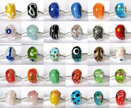 Wholesale Biagi Glass Beads - Pretty 925 silver loose murano beads lampwork glass beads Fit biagi european charm style bracelets 100pcs