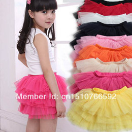 Wholesale Girls Silk Clothes - Wholesale-New Baby girls fluffy pettiskirts tutu princess skirts Baby girl children's pure white lace clothes 4-11 age Free shipping