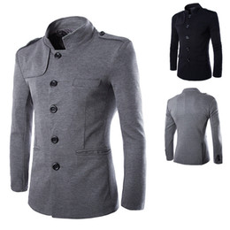 Wholesale Chinese Style Coat Men - Wholesale-2015 new arrival brand British style casual dress stand collar men suit single breasted coat men blazer Chinese tunic suit