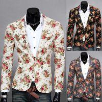 homens de design elegante venda por atacado-Atacado-2015 Design de Moda Mens Blazer Floral Casacos de Casacos, Casual Slim Fit Elegante Blazers Para Homens, homens Terno de Casamento, Frete Grátis
