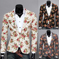 Wholesale Stylish Fashion Blazer Men - Wholesale-2015 Fashion Design Mens Floral Blazer Jacket Coats,Casual Slim Fit Stylish Blazers For Men,men Wedding Suit,Free Shipping