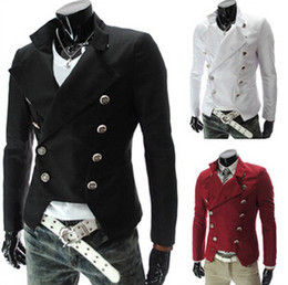 Wholesale Double Jacket Coat - Wholesale-M-2XL 3 Colors Tops New Brand Man Solid Blazer Double Stand Collar Slim Mens Jackets Male Coat Dress Blazers Button