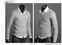 mens ince sığan hırka kazak toptan satış-Toptan-yeni kazak mens kazak marka moda slim fit pamuk blusas masculinas sueter adam kazak hırka masculino rahat gömlek