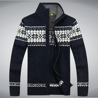 Wholesale Turtleneck Cardigan Sweater Men - Wholesale-New Winter Mens Cardigan Sweater Long Sleeve Turtleneck Printing Brand Ugly Christmas Sweater Cardigans Masculino Sweaters
