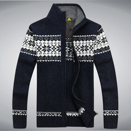 Wholesale Ugly Sweaters - Wholesale-New Winter Mens Cardigan Sweater Long Sleeve Turtleneck Printing Brand Ugly Christmas Sweater Cardigans Masculino Sweaters