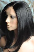 perucas cheias remy indianas do laço polegadas venda por atacado-10 polegadas de seda em linha reta # 1 Jet Black Glueless Full Lace Wigs 100% indiano Remy cabelo humano [GFH001]