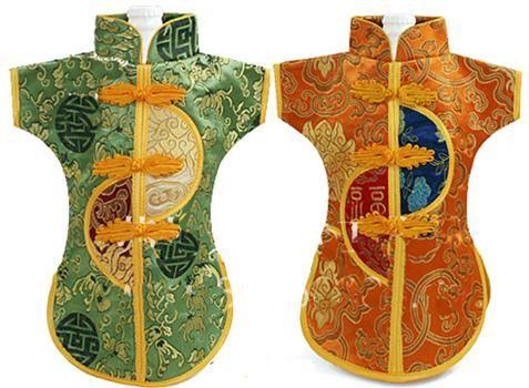 Nowość Chiński styl wakacje butelka wina ubrania pokrywy stołowe obiad dekoracji jedwab brokatu Brocade torby pasują 750ml 100 sztuk / partia Mix style i kolor