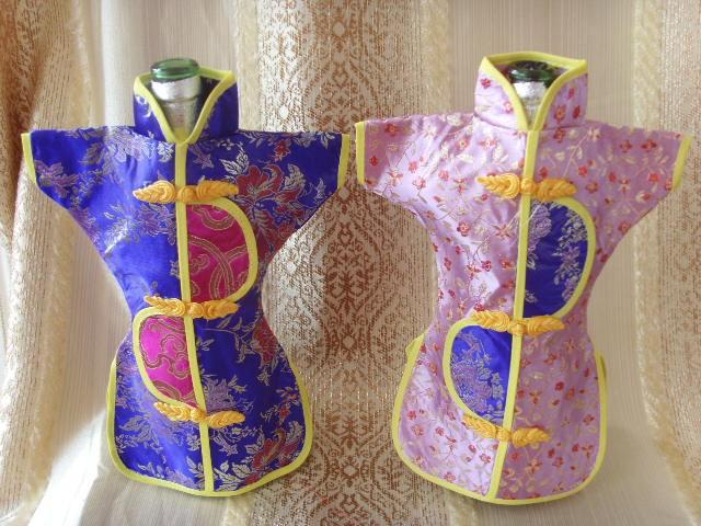 Vintage Chinese Silk Brocade Pouch Wine Bottle Cover Dust Bag Home Party Table Decoration Ethnic Craft Bottle Packaging Bags