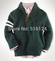 Wholesale Cardigans For Boys 3t - Wholesale-Classic Children's Cotton Sweaters > Casual Kids Half Zipper Knitted Pullovers Sweater for Boys Girls