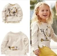 Wholesale Cardigan Sweater Outerwear Children - Wholesale-hot sale!Free Shipping,1pcs lot,children outerwear,children brand print design girls T-shirts,girls sweater,2-10year,beige color