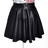 Wholesale Girls Leather Mini Skirts - Wholesale-2015 Fashion Sexy Women High Waist Skater Flared Pleated Casual PU Leather Mini Skirt Girl Sexy Short Skirts Free Shipping D0623