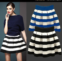 Wholesale New Fashion Half Skirts - Wholesale-New 2015 Fashion Summer Women Black-and-White Horizontal Stripe High Waist Puff Half-length Layered Elastic Ladies Bust Skirts
