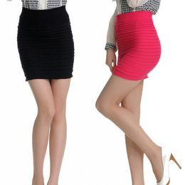Wholesale Basic Short Skirt Bust - Wholesale-8 Color big size womendetfas Pleated basic half-length elastic short bust skirts womens high waist slim hip