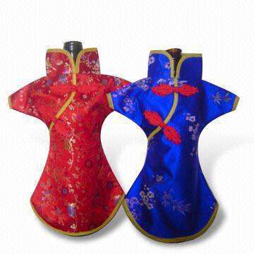 Novelty Chinese style Holiday Wine Bottle Clothes Covers Table Dinner Decoration Silk Brocade Packaging Bags fit 750ml mix style and color