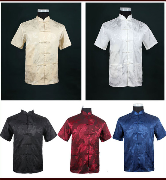 Wholesale-Free Shipping!Big Discount!Wholesale And Retai ChineseTradition Men's Summer  Shirt DragonM-3XL MS0023