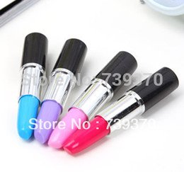 Wholesale Christmas Ball Pens - Wholesale-50pcs Lipstick Shape Mini Novelty Ballpoint Ball Point Rollerball Pen Refill Blue Creative Christmas Party Kids Gift in Bulk