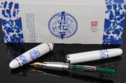 Wholesale China Porcelain Box - Holiday Gift Fountain Pen Unique China Blue and White Porcelain Fountain Pens with Packing Box 10pc