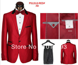 Wholesale Good Brand Black Suit - Wholesale-Free shipping good quality men brand name famous discount white black sliver red color fashion dress men suits for wedding