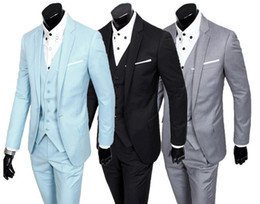Wholesale Professional Dressing For Men - Wholesale-Free Shipping wedding suits for men,2015 new Korean men's three-piece suits, professional dress and groom wedding dress
