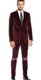 Discount Wine Red Velvet Suit   2017 Wine Red Velvet Suit on Sale ...