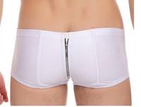 Wholesale Leather Boxer Shorts For Men - Wholesale-1pcs lot Free shipping JQK Imitation leather Sexy pants are Zipper open-backed pants for men Underwear men Boxer Shorts