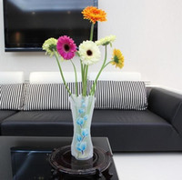 Wholesale Promotion DIY flower vase Folding vase PVC vase Foldable Vase Small Opp bag mix order