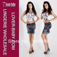 Wholesale Sexy Jeans Skirts - Wholesale-Free Shipping Sexy Fashion Paris Angel Imitation Jeans Skirt For Summer Girl