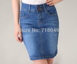 Wholesale Women Mini Jeans Skirt - Wholesale-New 2015 Summer Women Mini Denim Skirt Plus Size Pockets Stretch Cotton Washed Skinny Blue Jeans Step Skirt S-6XL Free Shipping