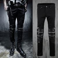 Wholesale Leather Style Jeans Men - Wholesale-new fashion 2015 spring Autumn Punk style Retro Rock Splicing leather jeans men Unique multi-Zipper jeans men feet pants,M-2XL,
