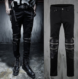 Wholesale Punk Rock Pants Zippers - Wholesale-new fashion 2015 spring Autumn Punk style Retro Rock Splicing leather jeans men Unique multi-Zipper jeans men feet pants,M-2XL,