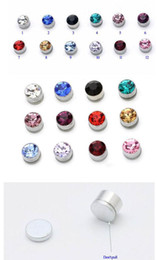 Wholesale Magnetic Earring 6mm - Jewelry 6mm Magnetic Earring stud Alloy electroplating artificial zircon magic 50 pcs Mix YH010