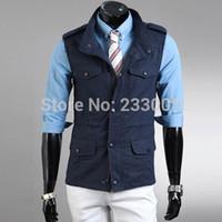 Wholesale Mens Multi Pocket Vest - Wholesale-New Fashion Brand Mens Multi-pocket Epaulet Designer Fishing Military Tactical Vest Men Waistcoat Jacket Coletes Jaquetas